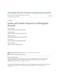 Insider and Outsider Perspective in Ethnographic Research