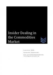 Insider Dealing in the Commodities Market