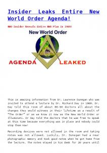 Insider Leaks Entire New World Order Agenda!