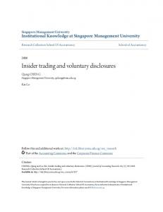Insider trading and voluntary disclosures