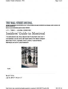 Insiders Guide to Montreal