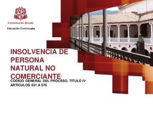 INSOLVENCIA DE PERSONA NATURAL NO COMERCIANTE