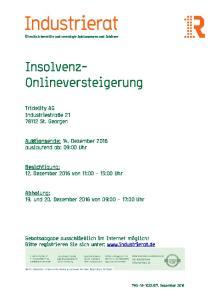 Insolvenz- Onlineversteigerung