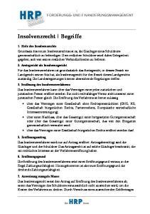 Insolvenzrecht Begriffe