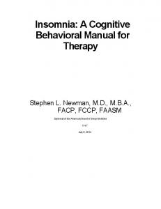 Insomnia: A Cognitive Behavioral Manual for Therapy