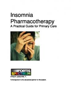 Insomnia Pharmacotherapy A Practical Guide for Primary Care