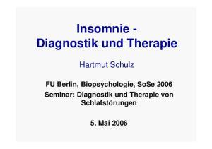 Insomnie - Diagnostik und Therapie