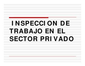 INSPECCION DE TRABAJO EN EL SECTOR PRIVADO
