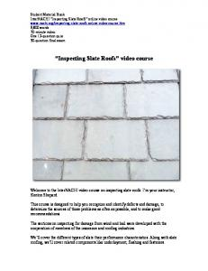 Inspecting Slate Roofs video course