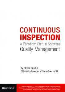 INSPECTION A Paradigm Shift in Software