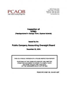 Inspection of KPMG (Headquartered in George Town, Cayman Islands) Public Company Accounting Oversight Board