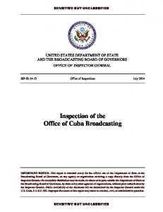 Inspection of the Office of Cuba Broadcasting