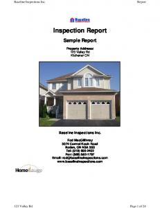 Inspection Report. Sample Report. Property Address: 123 Valley Rd. Kitchener ON. Baseline Inspections Inc