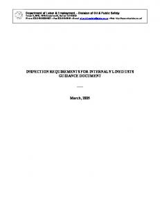 INSPECTION REQUIREMENTS FOR INTERNALY LINED USTS GUIDANCE DOCUMENT. March, 2005