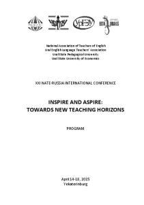 INSPIRE AND ASPIRE: TOWARDS NEW TEACHING HORIZONS