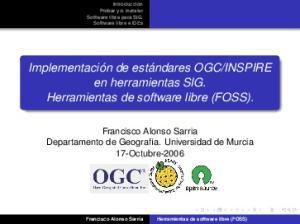 INSPIRE en herramientas SIG. Herramientas de software libre (FOSS)