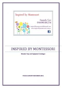 INSPIRED BY MONTESSORI. Wooden Toys and Equipment Catalogue