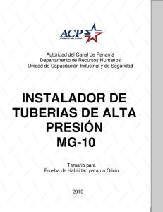 INSTALADOR DE TUBERIAS DE ALTA