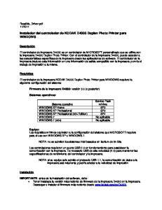Instalador del controlador de KODAK D4000 Duplex Photo Printer para