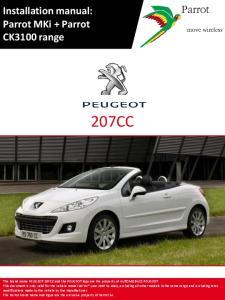 Installation 207CC manual: Parrot MKi + Parrot CK3100 range 207CC