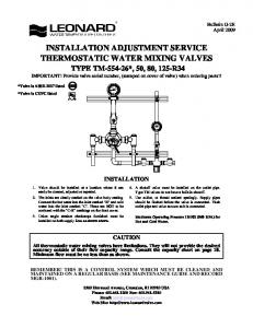 INSTALLATION ADJUSTMENT SERVICE THERMOSTATIC WATER MIXING VALVES