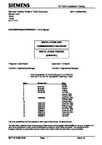 INSTALLATION AND COMMISSIONING HANDBOOK INSTALLATION TESTING (GENERAL)