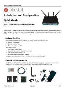 Installation and Configuration Quick Guide