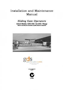 Installation and Maintenance Manual