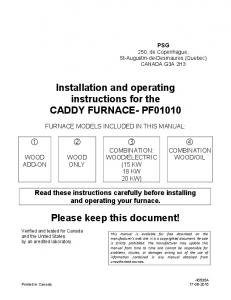 Installation and operating instructions for the CADDY FURNACE- PF01010