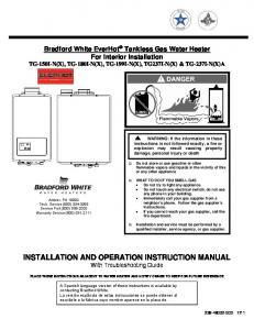 INSTALLATION AND OPERATION INSTRUCTION MANUAL With Troubleshooting Guide