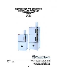 INSTALLATION AND OPERATION MANUAL AND PARTS LIST GAS FIRED STEAMER MODELS ETP-5G ETP-10G