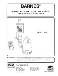 INSTALLATION and OPERATION MANUAL Battery Backup Sump Pump