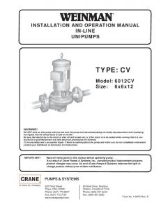 INSTALLATION AND OPERATION MANUAL IN-LINE UNIPUMPS