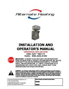 INSTALLATION AND OPERATOR S MANUAL