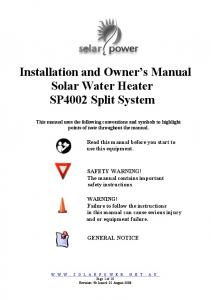 Installation and Owner s Manual Solar Water Heater SP4002 Split System