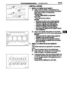 INSTALLATION EM 69 2TR-FE ENGINE MECHANICAL CYLINDER HEAD 10 (0.394) 10 (0.394) 10 (0.394) 10 (0.394) mm (in.) Cylinder Head Gasket Upper Side