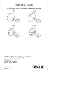 Installation Guide. Adjustable Wall-Mount Handshower Holder