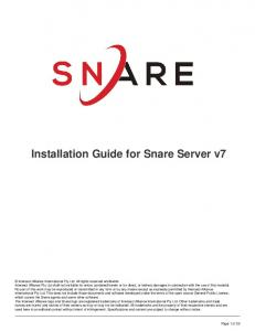 Installation Guide for Snare Server v7