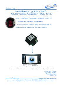 Installation guide - IMA Multimedia Adapter RNS 510