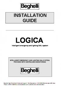 INSTALLATION GUIDE LOGICA. Intelligent emergency and lighting DALI system