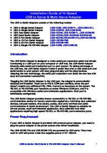 Installation Guide of Hi-Speed USB to Serial & Multi-Serial Adapter