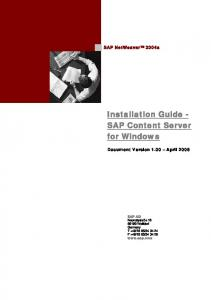 Installation Guide - SAP Content Server for Windows