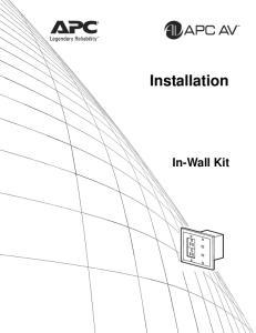 Installation. In-Wall Kit