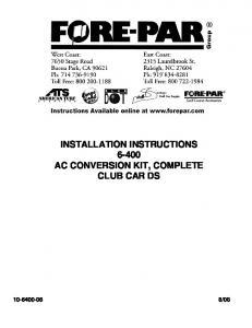 INSTALLATION INSTRUCTIONS AC CONVERSION KIT, COMPLETE CLUB CAR DS
