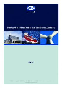 INSTALLATION INSTRUCTIONS AND REFERENCE HANDBOOK MIC-2