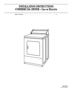 INSTALLATION INSTRUCTIONS COMMERCIAL DRYER Gas or Electric