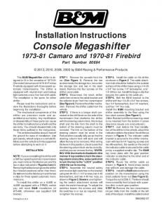 Installation Instructions Console Megashifter