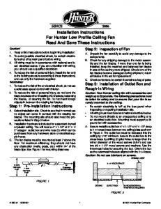 Installation Instructions For Hunter Low Profile Ceiling Fan Read And Save These Instructions