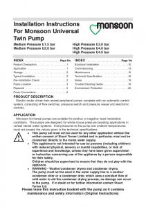 Installation Instructions For Monsoon Universal Twin Pump
