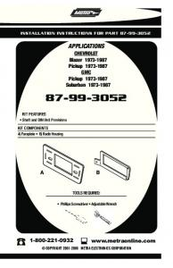 INSTALLATION INSTRUCTIONS FOR PART APPLICATIONS. CHEVROLET Blazer Pickup GMC Pickup Suburban